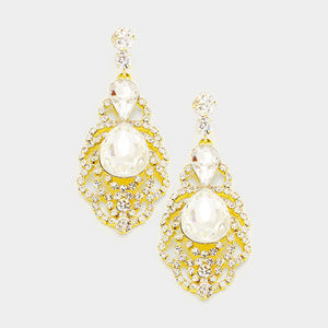 Jewelry - Teardrop Stone Accented Pave Evening Earrings